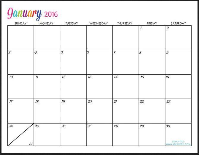 Free 2016 Blank Calendar Templates   Calendar Picture Templates