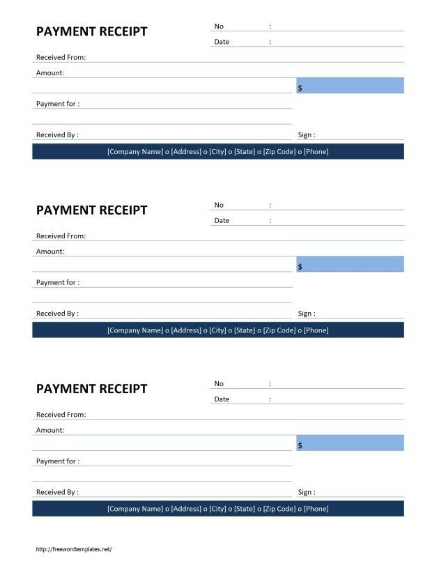 Receipt Form. Other Size [ S ] Free Printable Payment Receipt Form ...