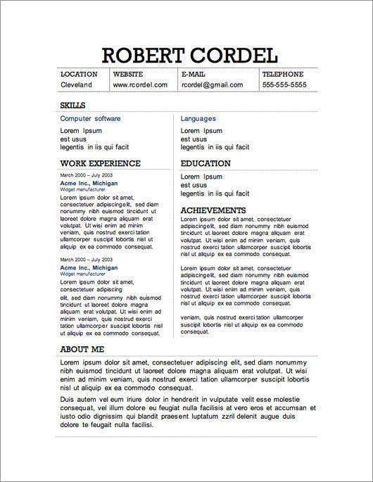Professional Resume Templates Free Download. Fresher Engineer ...