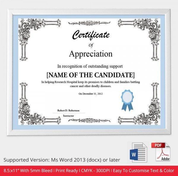 Sample Certificate Of Appreciation Template. Certificate-Of ...