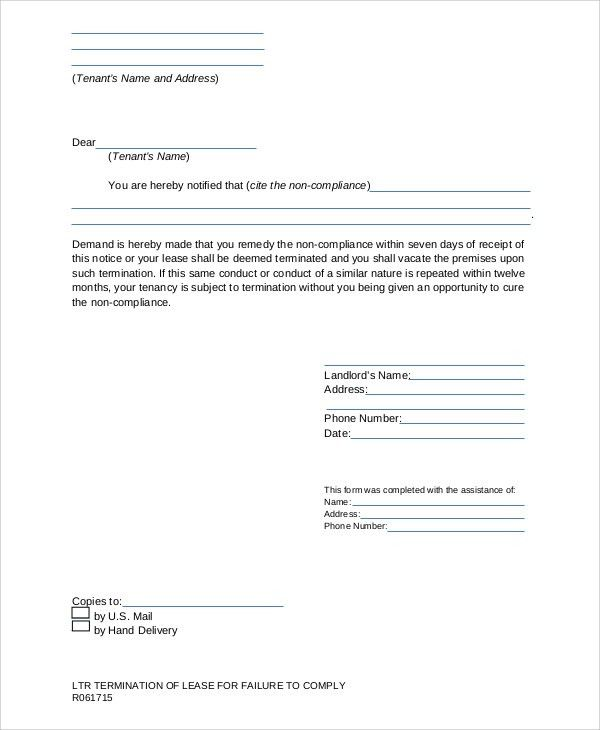 lease termination letter how to write a contract. landlord tenant ...