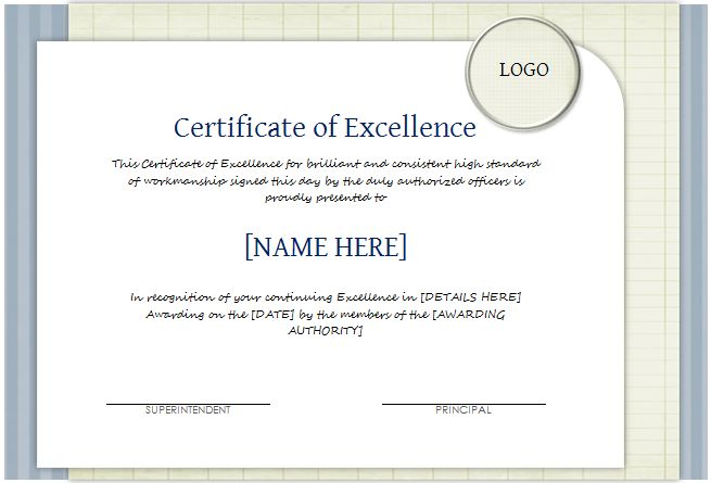 Certificate of Excellence Template for WORD | Document Hub