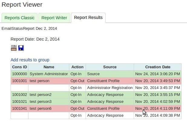 Sample Email Opt-In Status Report