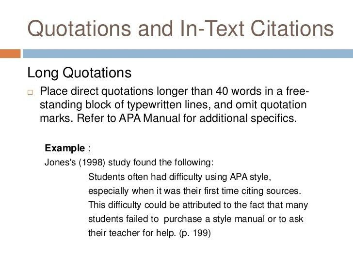 Apa In Text Citation Paragraph Example. Apa Long Quote In Text ...