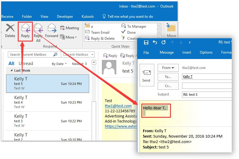 Automatically add greeting when replying an email in Outlook