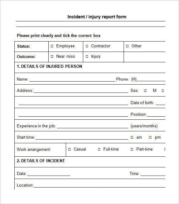 Incident Report Form Template Word | Template Design