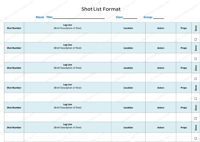 Shot List Template - 6 Free Shot Lists for Word and Excel®