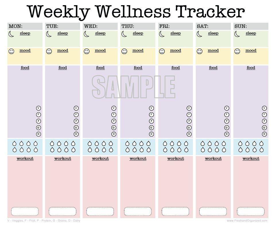 Weekly Wellness Tracker EDITABLE workout planner sleep