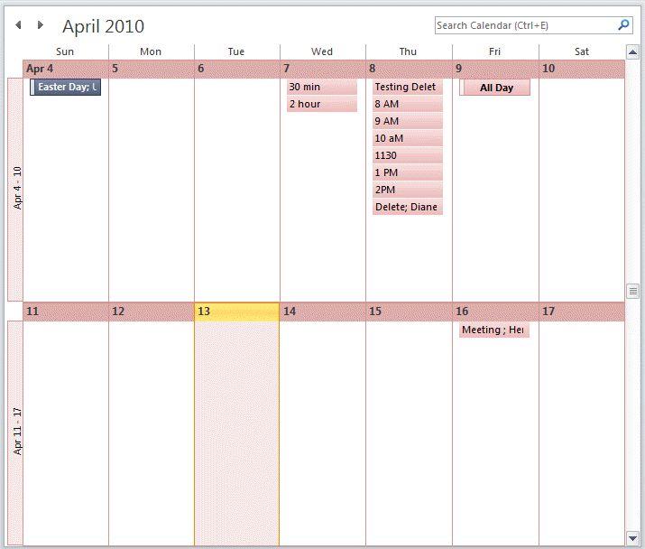 View a Two Week Calendar