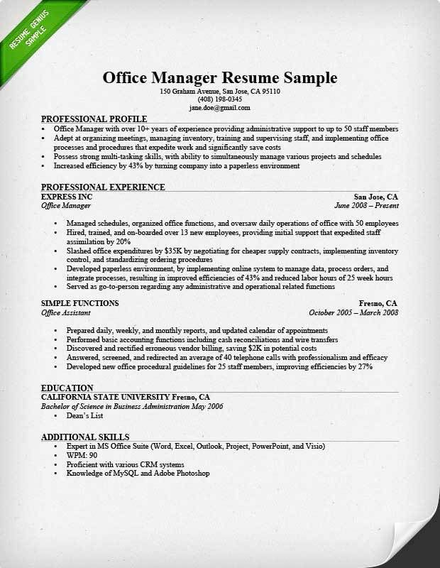 Office Manager Resume Sample - CV Resume Ideas