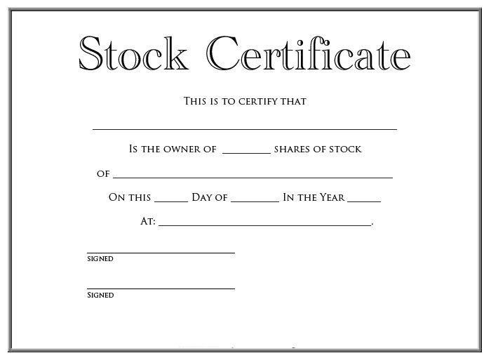 Stock Certificate Template | ebook