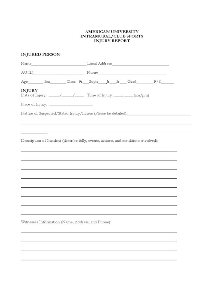 Sample Injury Report Form Free Download