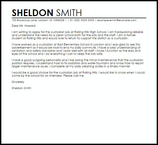Amazing Ideas Custodian Cover Letter 5 Janitor Maintenance Samples ...