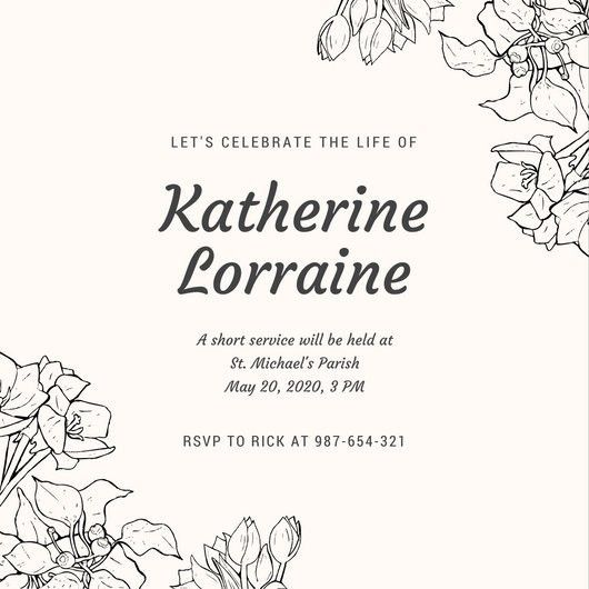Black and Pink Illustrated Flower Memorial Invitation - Templates ...