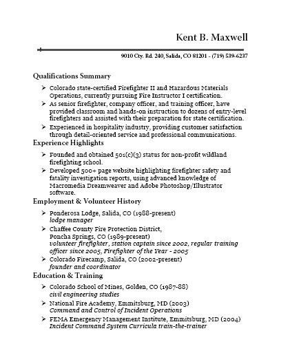 firefighter resume job description sample resume kent b maxwell