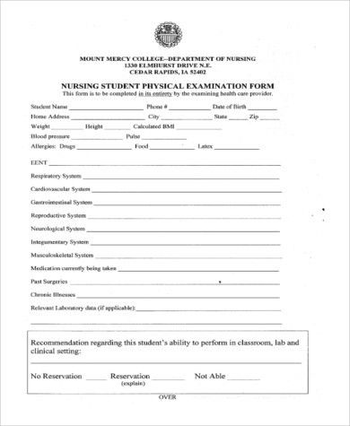 Sample Physical Examination Form - 9+ Free Documents in PDF