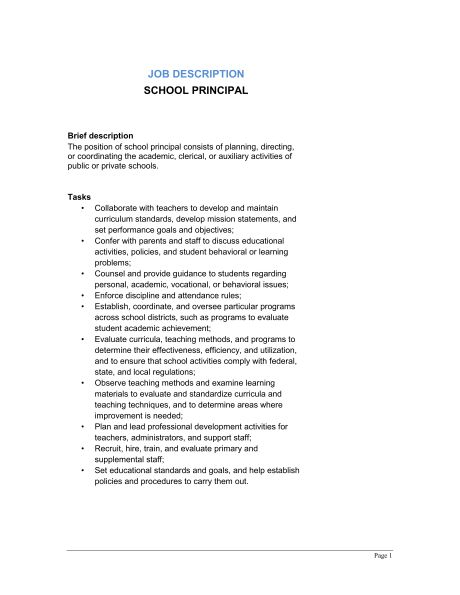 School Principal Job Description - Template & Sample Form ...