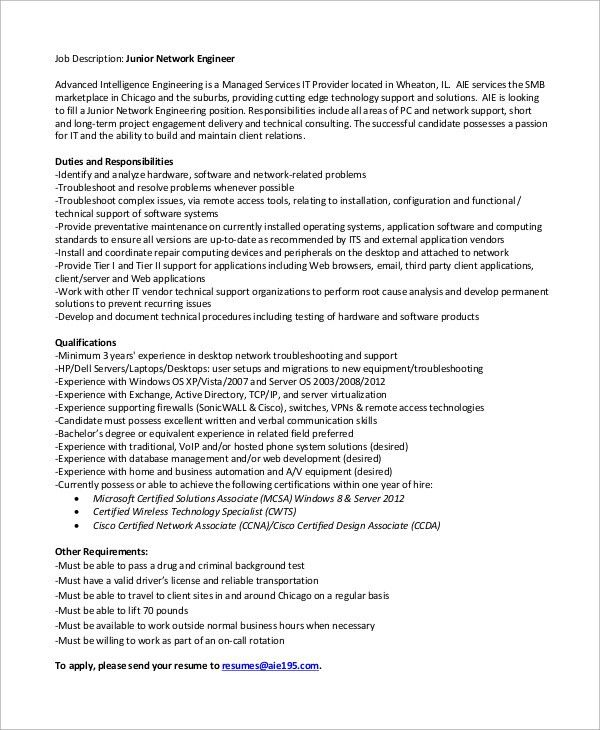 Sample Network Engineer Job Description - 10+ Examples in Word, PDF