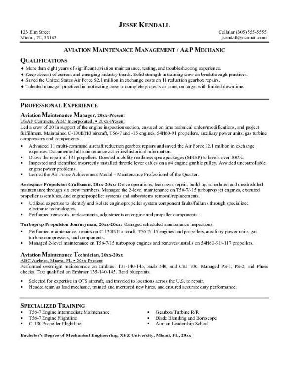 Experienced Aviation Maintenance Technician Resume Example with ...
