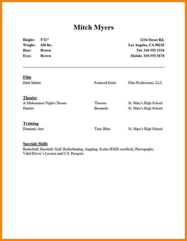 Resume For Acting, theatrical resume template. musical theatre ...