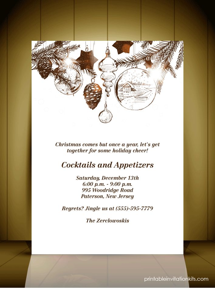 Vintage Style Christmas Party Invitation Card ← Wedding ...