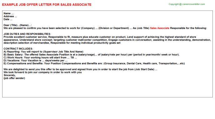 Sales Associate Offer Letter