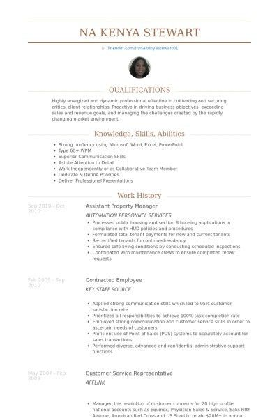 resume for property manager