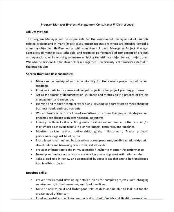 Management Consultant Job Description Sample - 8+ Examples in Word ...