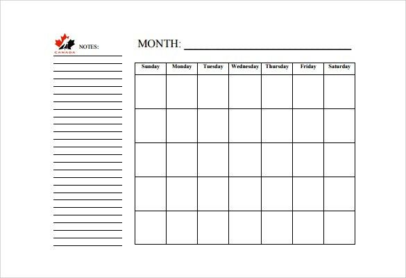 Blank Calendar – 11+ Free Samples, Examples , Format