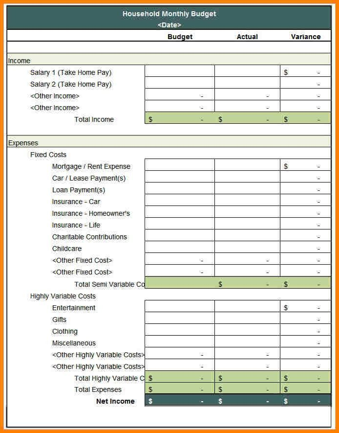 10+ monthly household budget | monthly bills template