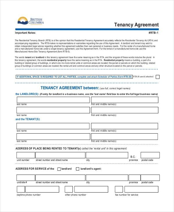 Sample Tenancy Agreement Form - 8+ Free Documents in PDF, Doc