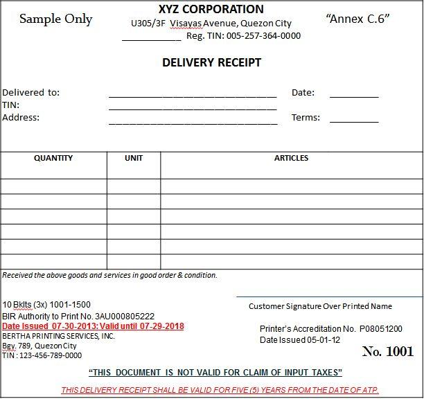 official receipt template