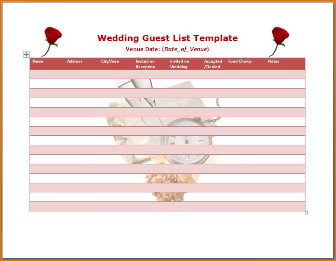 7+ wedding guest list template | Job Resumes Word