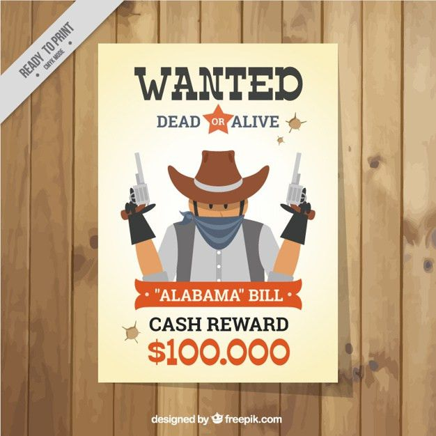 Wanted poster with dangerous criminal in flat design Vector | Free ...