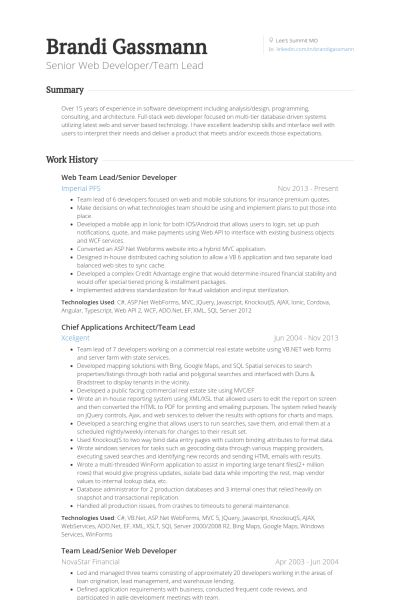 Senior Developer Resume samples - VisualCV resume samples database