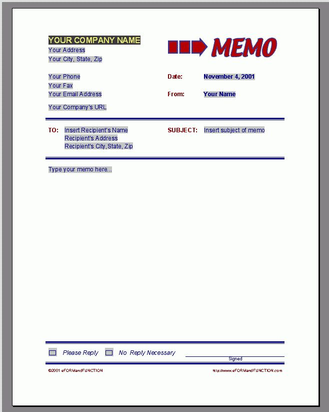 4 memo template | Receipt Templates