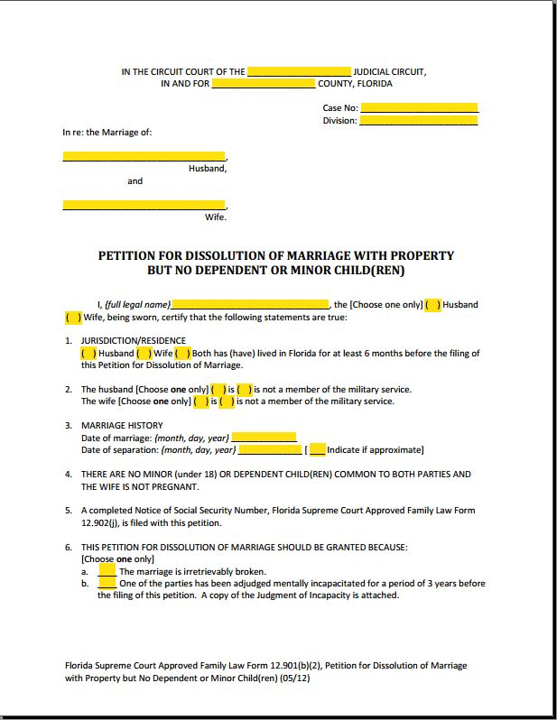 Form 12.901b2 - Dissolution of Marriage with Property But No ...
