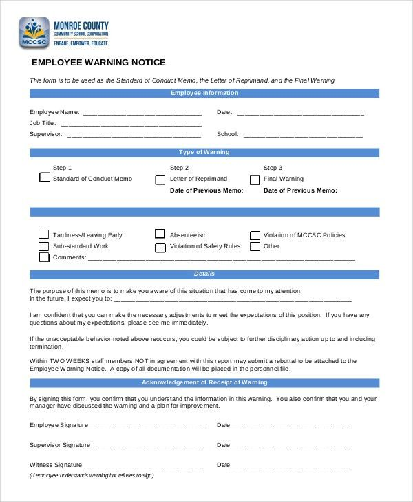Employee Warning Notice - 8+ Free Word, PDF Documents Download ...