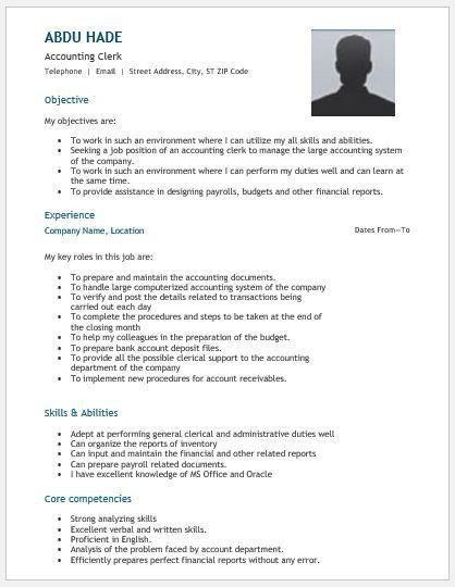 accounting clerk resume