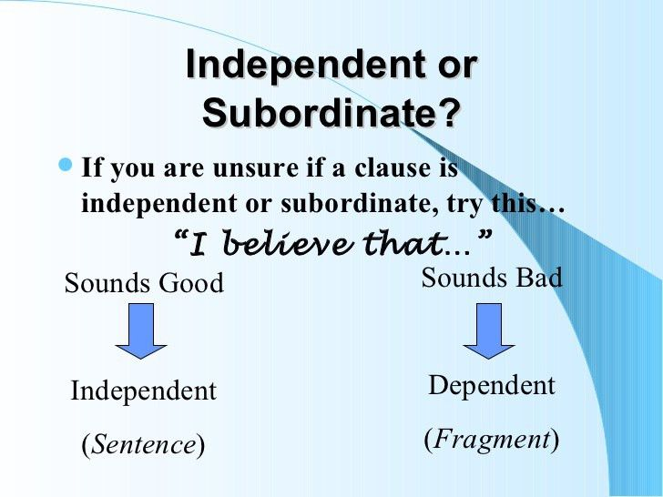 Dependent & subordinate clauses