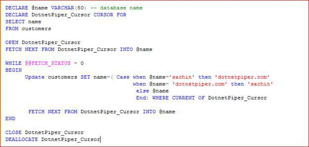 Switch Column Value of a Table Using Cursor in SQL Server 2008