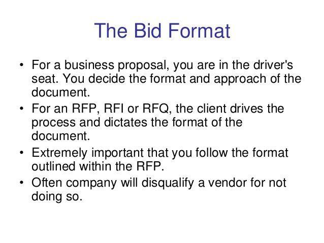 bid format