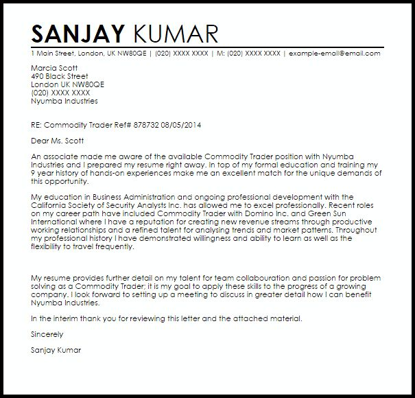 Junior Trader Cover Letter Junior Trader Cover Letter Sample - Bond trader cover letter