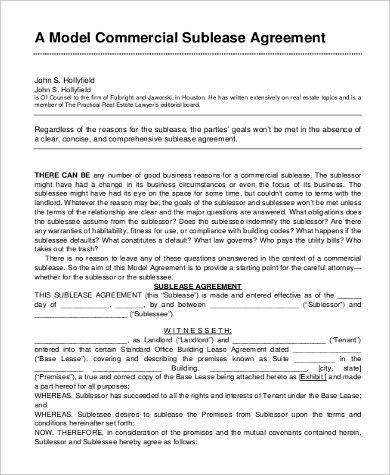 Sublease Agreement Form Sample - 9+ Free Documents In Word ...
