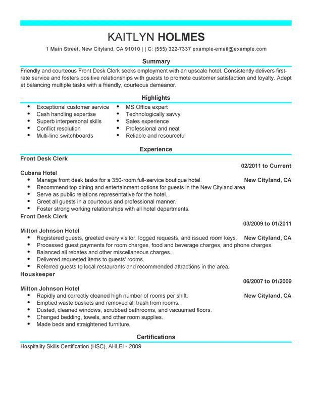 unforgettable front desk clerk resume examples to stand out - Resume Templates That Stand Out