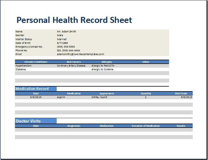 Personal Medical Health Record Worksheet Template | Word & Excel ...