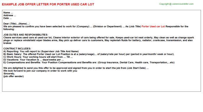 Porter Used Car Lot Offer Letter