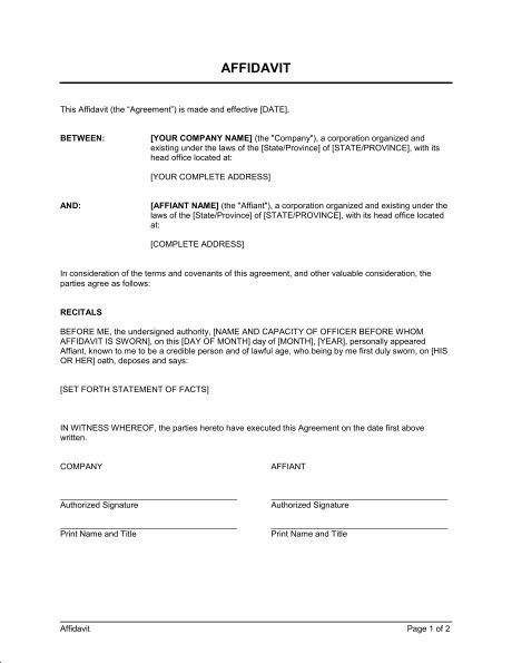 sample affidavit template