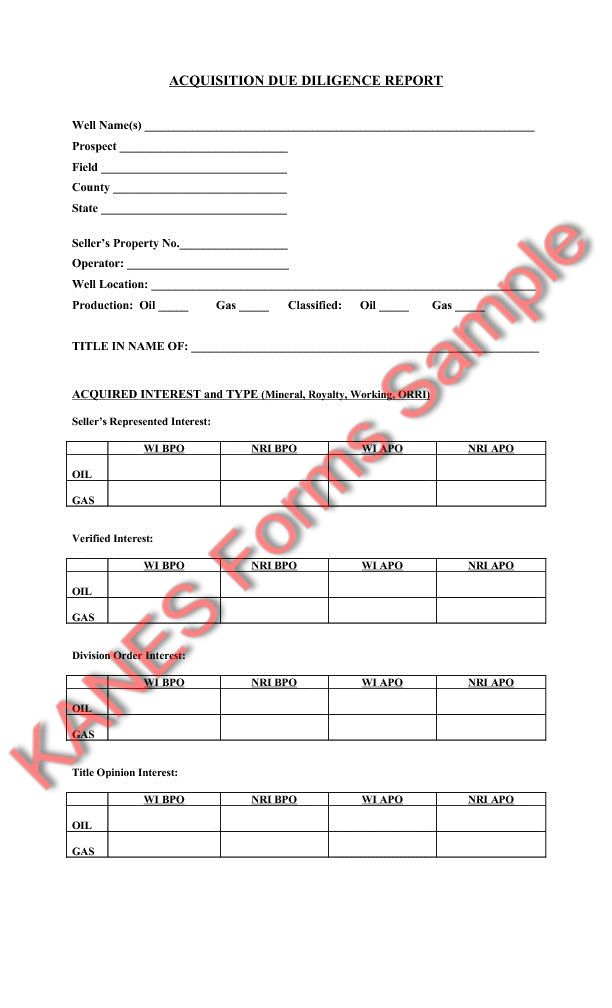 due diligence report template