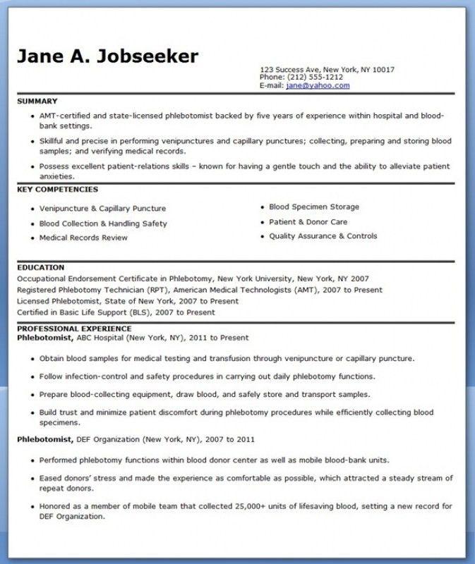 Resume For Phlebotomist – Resume Examples